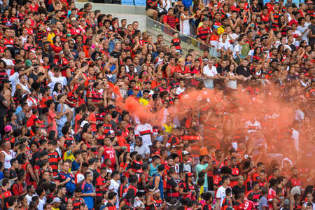 Rio, Brazil - april 17, 2018: Fans during training of the Flamengo team preparing for the Libertadores Cup game this Wednesday at Maracana against Santa Fe