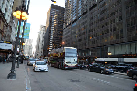 Chicago, Usa - march 14, 2018: Passenger turism bus passing through a street in the city of Chicago downtown