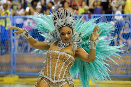 Rio, Brazil - february 12, 2018: Samba School parade in Sambodromo. Unidos da Tijuca during parade of the carioca carnival in the Marques de Sapucai. Queen of percussion Juliana Alves
