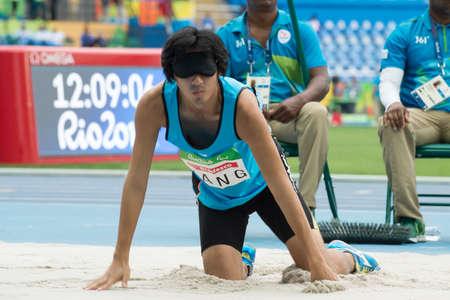 Rio, Brazil - september 08, 2016: YANG Chuan-Hui (TPE) during mens long jump - T11 in the Rio 2016 Paralympics Games 에디토리얼