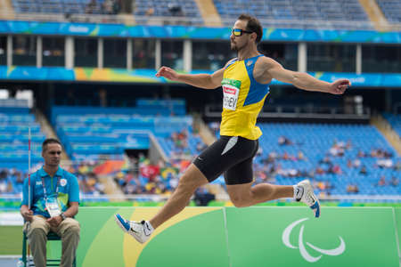 Rio, Brazil - september 08, 2016: KATYSHEV Ruslan (UKR) during mens long jump - T11 in the Rio 2016 Paralympics Games