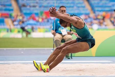 Rio, Brazil - september 08, 2016: COSTA de OLIVEIRA Ricardo (BRA) during mens long jump - T11 in the Rio 2016 Paralympics Games 에디토리얼