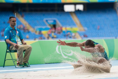 Rio, Brazil - september 08, 2016: COSTA de OLIVEIRA Ricardo (BRA) during mens long jump - T11 in the Rio 2016 Paralympics Games 에디토리얼
