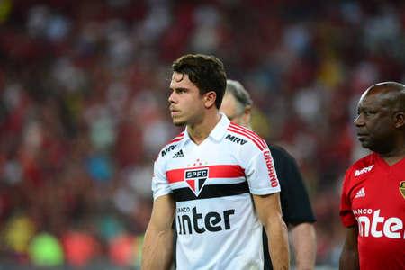 Rio, Brazil - june 18, 2018: Araruana player in match between Flamengo and Sao Paulo by the Brazilian Championship in Maracana Stadium Editorial