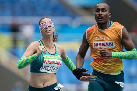 Rio, Brazil - september 08, 2016: Lorena SALVATINI SPOLADORE (BRA) during womens 100m - T11 in the Rio 2016 Paralympics Games 에디토리얼