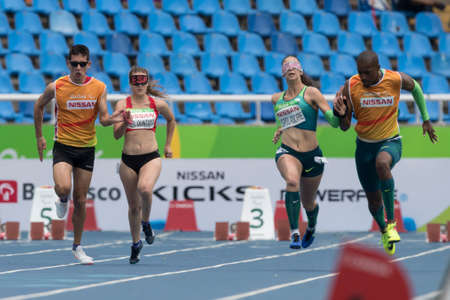 Rio, Brazil - september 08, 2016: BEEL QUINTANA Lia (ESP) during womens 100m - T11 in the Rio 2016 Paralympics Games 에디토리얼