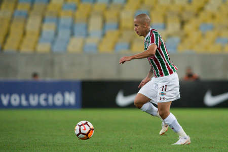 Rio, Brazil - august 02, 2018: Marcos Junior player in match between Fluminense and Defensor by the sudamerica cup in Maracana Stadium Editorial