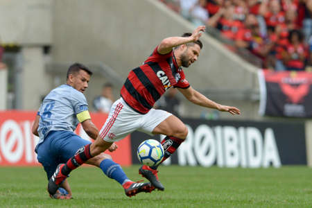 Rio, Brazil - august 12, 2018: Diego and Henrique player in match between Flamengo and Cruzeiro by the Brazilian Championship in Maracana Stadium Editorial