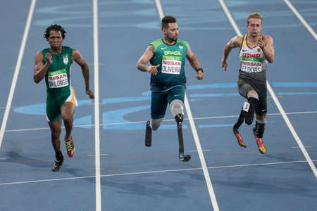 Rio, Brazil - september 08, 2016: OLIVEIRA Alan Fonteles Cardoso (BRA) during Mens 100m - T44 Round 1, in the Rio 2016 Paralympics Games. Editöryel