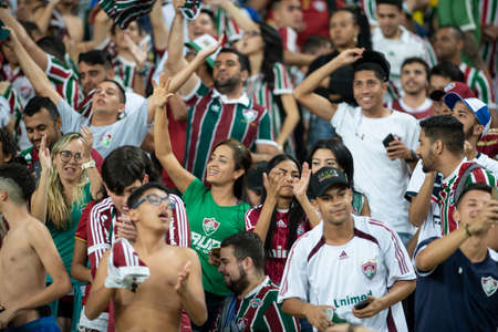 Rio, Brazil - august 22, 2018: Fans in match between Fluminense and Corinthians by the Brazilian Championship in Maracana Stadium