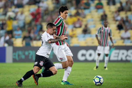 Rio, Brazil - august 22, 2018: Pedro e Fagner player in match between Fluminense and Corinthians by the Brazilian Championship in Maracana Stadium Editorial