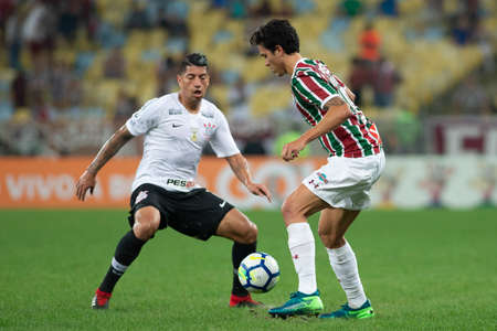 Rio, Brazil - august 22, 2018: Pedro and Ralf player in match between Fluminense and Corinthians by the Brazilian Championship in Maracana Stadium Editorial