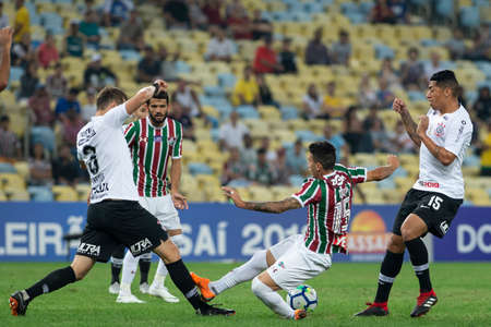 Rio, Brazil - august 22, 2018: Dodi player in match between Fluminense and Corinthians by the Brazilian Championship in Maracana Stadium Editorial