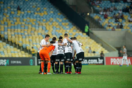 Rio, Brazil - august 22, 2018: Players in match between Fluminense and Corinthians by the Brazilian Championship in Maracana Stadium