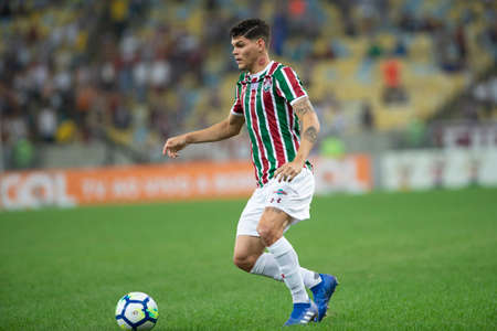 Rio, Brazil - august 22, 2018: Ayrton Lucas player in match between Fluminense and Corinthians by the Brazilian Championship in Maracana Stadium