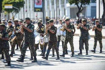Rio de Janeiro, Brazil - september 07, 2018:  military civic parade celebrating the independence of Brazil. Musical band