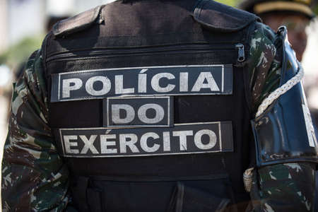 Rio de Janeiro, Brazil - september 07, 2018:  military civic parade celebrating the independence of Brazil. Policia do exercito 에디토리얼