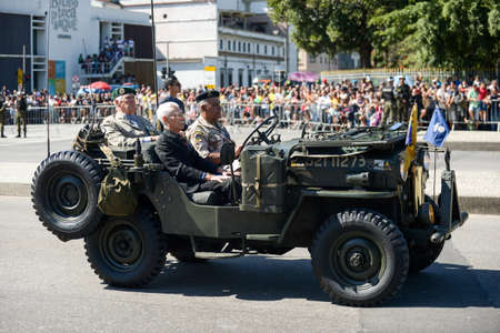 Rio de Janeiro, Brazil - september 07, 2018:  military civic parade celebrating the independence of Brazil. Police car Editorial