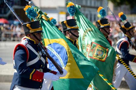 Rio de Janeiro, Brazil - september 07, 2018:  military civic parade celebrating the independence of Brazil. Brazilian flag 에디토리얼