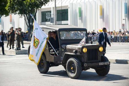 Rio de Janeiro, Brazil - september 07, 2018:  military civic parade celebrating the independence of Brazil. Military car 에디토리얼