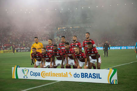 Rio, Brazil - september 12, 2018: Poster team players in match between Flamengo and Corinthians by the Brazilian Cup in Maracana Stadium