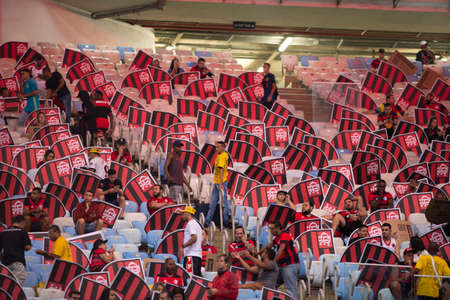 Rio, Brazil - september 12, 2018: Shields in match between Flamengo and Corinthians by the Brazilian Cup in Maracana Stadium Editorial