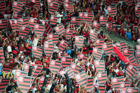 Rio, Brazil - september 12, 2018: Fans in match between Flamengo and Corinthians by the Brazilian Cup in Maracana Stadium