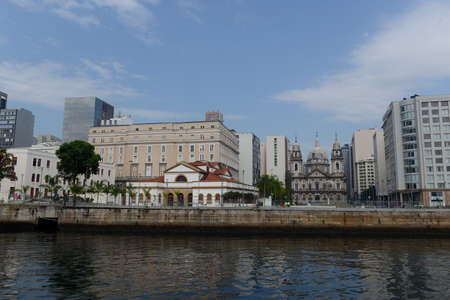 Rio de Janeiro, Brazil - september 07, 2018: view of the facade of the church of the candelaria and the cultural center bank of Brazil in the city center by day