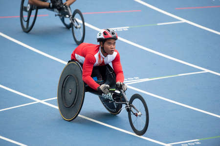 Rio, Brazil - september 09, 2016:  Pongsakorn Peak (THA) during mens 100m - T53, round 1, in the Rio 2016 Paralympics Games. 에디토리얼