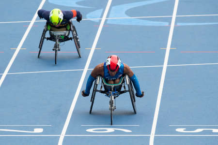 Rio, Brazil - september 09, 2016:  Gianfranco Iannotta (USA) during mens 100m - T52, round 1, in the Rio 2016 Paralympics Games.
