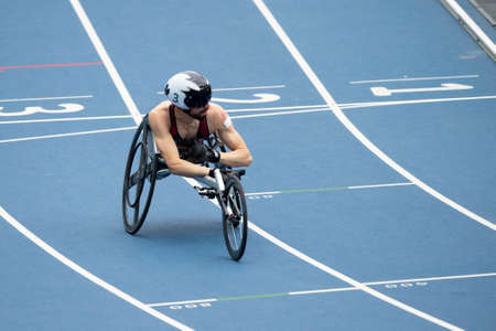 Rio, Brazil - september 09, 2016:  LAKATOS Brent (CAN) during mens 100m - T53, round 1, in the Rio 2016 Paralympics Games.