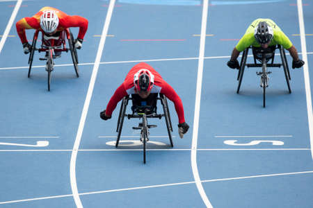 Rio, Brazil - september 09, 2016:  xxxxx during mens 100m - T53, round 1, in the Rio 2016 Paralympics Games. 에디토리얼