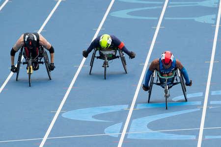 Rio, Brazil - september 09, 2016:  Gianfranco Iannotta (USA) during men's 100m - T52, round 1, in the Rio 2016 Paralympics Games.