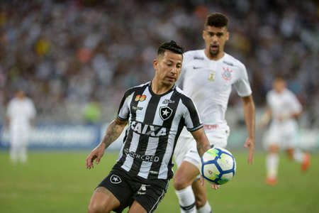 Rio, Brazil - november 04, 2018: Leo Valencia player in match between Botafogo and Corinthians by the Brazilian Championship in Nilton Santos Stadium Editorial