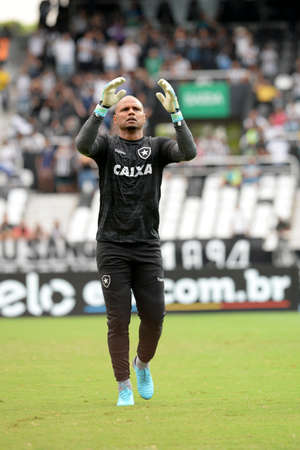 Rio, Brazil - november 26, 2018: Jefferson goal keeper in his last match between Botafogo and Parana by the Brazilian Championship in Nilton Santos Stadium