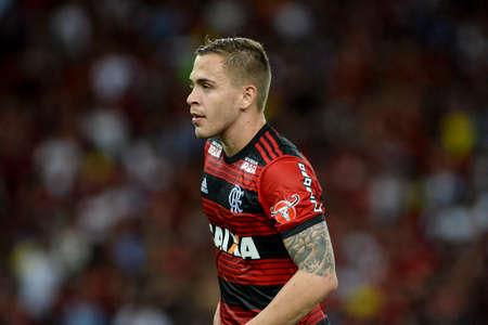 Rio, Brazil - december 01, 2018: Pires da Motta player in match between Flamengo and Atletico-PR by the Brazilian Championship in Maracana Stadium