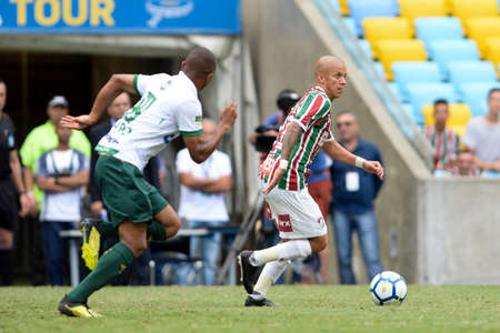 Rio, Brazil - december 02, 2018: Marcos Junior player in match between Fluminense and America-MG by the Brazilian Championship in Maracana Stadium Editorial