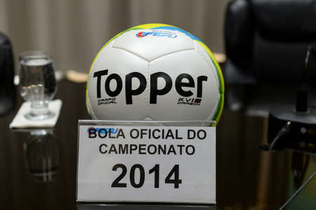 Rio, Brazil - december 12, 2018: ball of the championship carioca 2014 on display at the launch of the 2019.