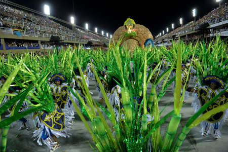 Rio, Brazil - february 12, 2018: Samba School Portela perform at Marques de Sapucai known as Sambodromo, for the Carnival Samba Parade competition.