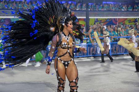 Rio, Brazil - february 12, 2018: Samba School Imperatriz Leopoldinense perform at Marques de Sapucai known as Sambodromo, for the Carnival Samba Parade competition.