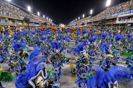 Rio, Brazil - february 12, 2018: Samba School Beija Flor perform at Marques de Sapucai known as Sambodromo, for the Carnival Samba Parade competition. Redakční