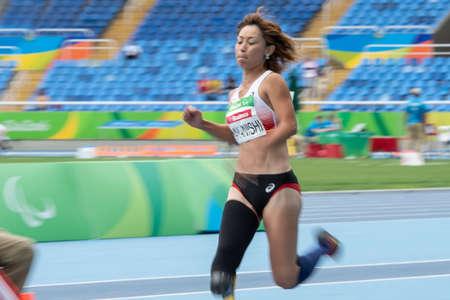 Rio, Brazil - september 09, 2016: NAKANISHI Maya (JPN) during Womens Long Jump - T44, in the Rio 2016 Paralympics Games. 에디토리얼