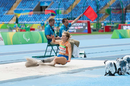 Rio, Brazil - september 09, 2016: PRUYSEN Iris (NED) during Womens Long Jump - T44, in the Rio 2016 Paralympics Games.