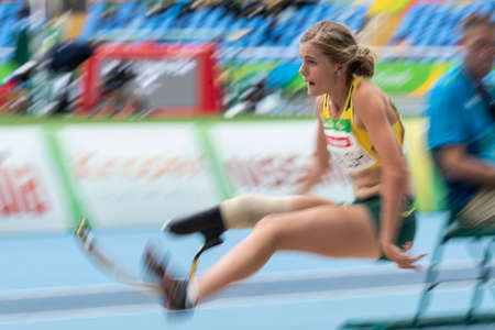 Rio, Brazil - september 09, 2016: WALSH Sarah (AUS) during Womens Long Jump - T44, in the Rio 2016 Paralympics Games. Motion Blur