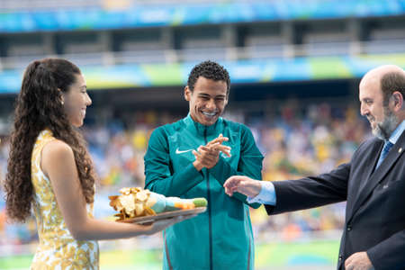 Rio, Brazil - september 09, 2016: MARTINS Daniel (BRA) during mens 400m - T20, in the Rio 2016 Paralympics Victory Ceremony