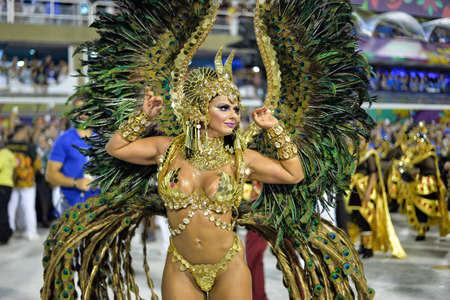 Rio, Brazil - february 17, 2018: Samba School perform at Marques de Sapucai known as Sambodromo, for the Carnival Samba Parade champions. Queen of Percussion, Viviane Araujo