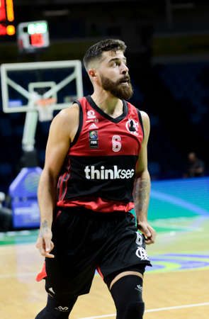 Rio, Brazil - february 15, 2019: Franco Balbi player in match between Flamengo x Austin Spur by the Intercontinental Cup (basketball) in Arena Carioca 1 Venue.