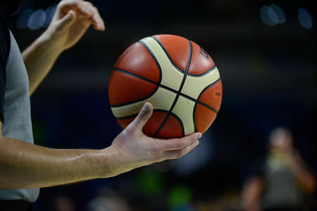 Rio, Brazil - february 15, 2019: Ball in match between Flamengo x Austin Spur by the Intercontinental Cup (basketball) in Arena Carioca 1 Venue.
