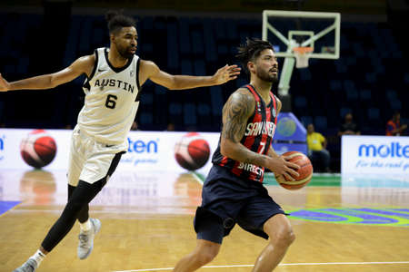 Rio, Brazil - february 17, 2019: Nicolas Aguirre player in match between San Lorenzo x Austin Spur by the Intercontinental Cup (basketball) in Arena Carioca 1 Venue.