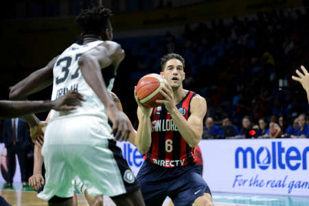 Rio, Brazil - february 17, 2019: Marcos Mata player in match between San Lorenzo x Austin Spur by the Intercontinental Cup (basketball) in Arena Carioca 1 Venue.